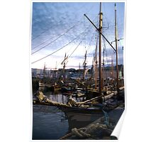 Tall ships in dock at sunset, Brest Maritime festival 2008, France Poster