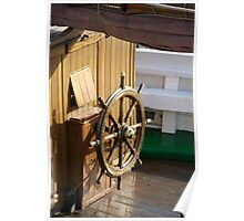 Traditional wooden ships wheel, Brest Maritime Festival 2008 , France Poster