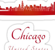 Chicago skyline in red Sticker