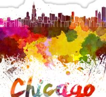 Chicago skyline in watercolor Sticker