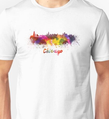 Chicago skyline in watercolor Unisex T-Shirt