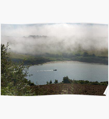 Sea fog on the Erme Estuary, South Hams, Devon, UK Poster