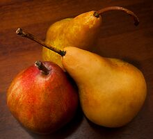 Pear Trio on Wooden Tray by Jay Gross