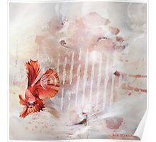 Red fish bubbles Poster