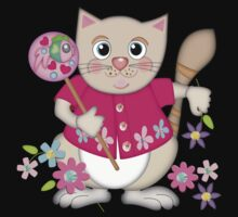 Cute Kitty with Fish Lollipop Kids Clothes