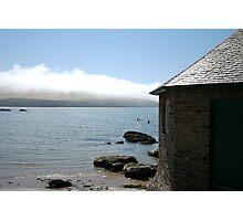 Cottage and sea fog, Mothecombe, South Hams, Devon, England, UK Photographic Print