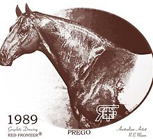 Red Frontier Thoroughbred Prego 1989 Drawing by RedFrontier