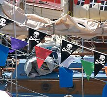 Pirate flag pennants, Classic Boat Rally, Sutton Harbour, Plymouth, Devon, England, UK by silverportpics