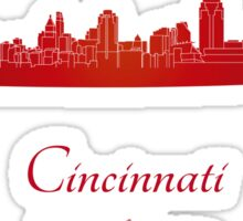 Cincinnati skyline in red Sticker