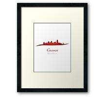 Cincinnati skyline in red Framed Print