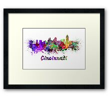 Cincinnati skyline in watercolor Framed Print