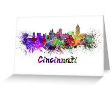 Cincinnati skyline in watercolor Greeting Card