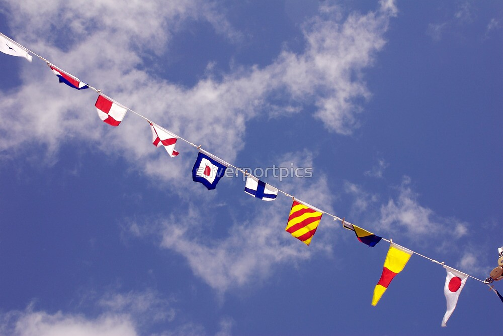 Colourful sailing pennants, Classic Boat Rally, Sutton Harbour, Plymouth, Devon, England, UK by silverportpics