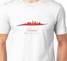Cleveland skyline in red Unisex T-Shirt