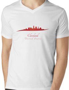 Cleveland skyline in red Mens V-Neck T-Shirt