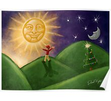 Greeting The Solstice Sun, Christmas Card for Pagans Poster