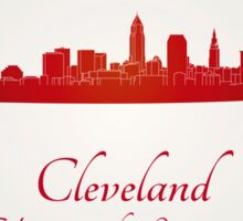 Cleveland skyline in red Sticker