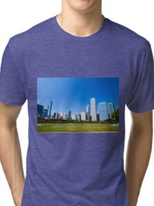 Chicago IL skyline from Grant park Tri-blend T-Shirt