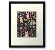 Raccoons bright pattern Framed Print