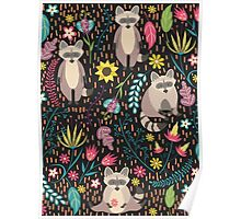 Raccoons bright pattern Poster