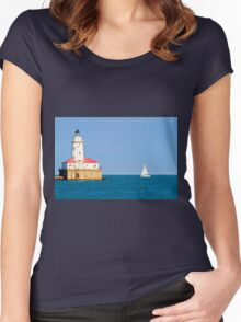 Chicago harbor lighthouse. Chicago, IL, USA Women's Fitted Scoop T-Shirt