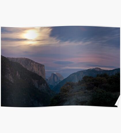 Half Dome & El Capitan in the moonlight Poster
