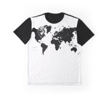 Black & White World Map Graphic T-Shirt
