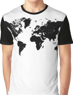 Black & White World Map Graphic T-Shirt