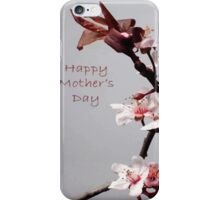 Pink Plum Blossom With Happy Mother's Day Greeting iPhone Case/Skin