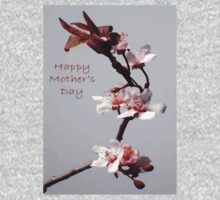 Pink Plum Blossom With Happy Mother's Day Greeting One Piece - Short Sleeve