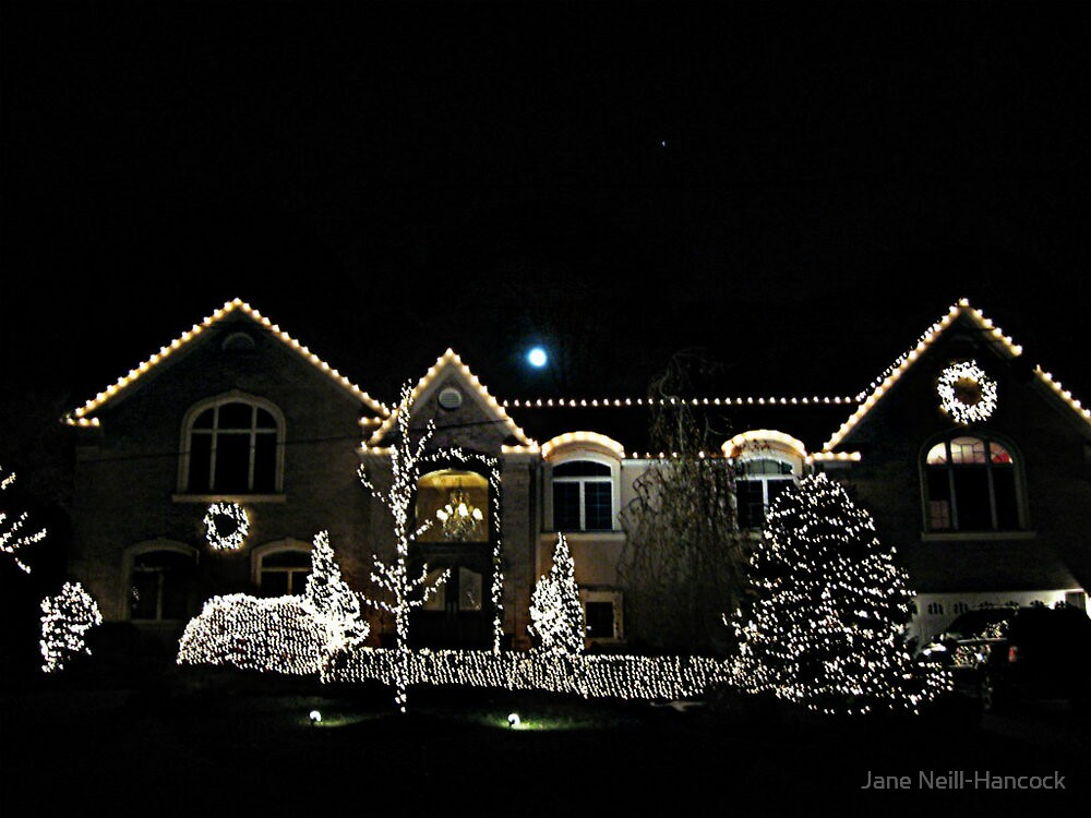 Beautiful Home Lit For Christmas by Jane Neill-Hancock