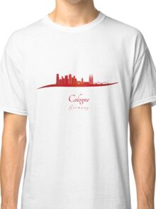 Cologne skyline in red Classic T-Shirt