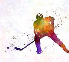 Hockey skater in watercolor by paulrommer