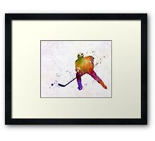 Hockey skater in watercolor Framed Print