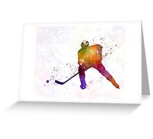 Hockey skater in watercolor Greeting Card