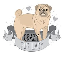 Crazy Pug (dog) Lady Photographic Print