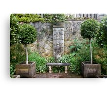 Bench and Topiary Canvas Print