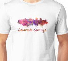 Colorado Springs skyline in watercolor Unisex T-Shirt