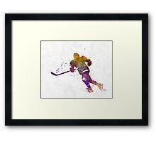 Skater with stick in watercolor Framed Print