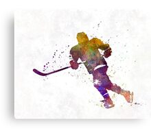 Skater with stick in watercolor Canvas Print