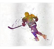 Skater with stick in watercolor Poster