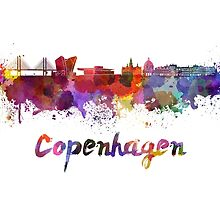 Copenhagen skyline in watercolor by paulrommer