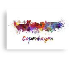 Copenhagen skyline in watercolor Canvas Print