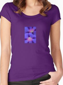 Purple and Pink Colored Morning Glory Flowers Closeup Women's Fitted Scoop T-Shirt