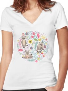 Raccoons bright pattern Women's Fitted V-Neck T-Shirt