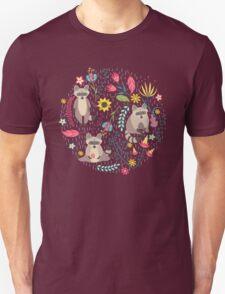 Raccoons bright pattern Unisex T-Shirt