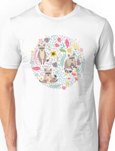 Raccoons bright pattern Unisex T-Shirt