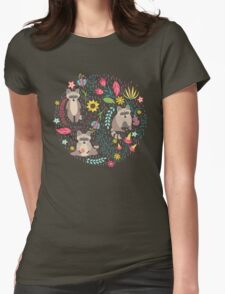 Raccoons bright pattern Womens Fitted T-Shirt