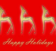 Three deers - happy holidays by Cheryl Hall