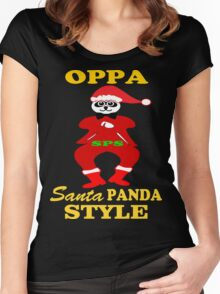 ★ټOppa Santa-Panda Style Hilarious Clothing & Stickersټ★ Women's Fitted Scoop T-Shirt